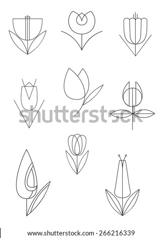 Vector flower line calligraphy illustration collection for design - stock vector