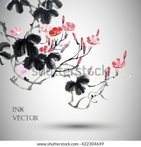 Vector flower painting .Traditional Chinese Painting.  - stock vector