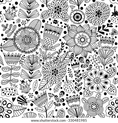 Vector flower pattern.  Black and white seamless botanic texture, detailed flowers illustrations. All elements are not cropped and hidden under mask. Doodle style, spring floral background.