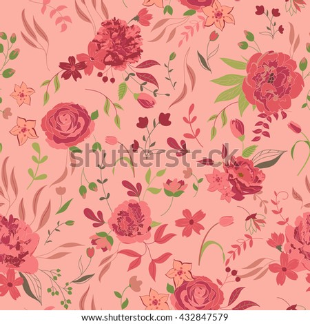 Vector flower pattern. Colorful seamless botanic texture, detailed flowers illustrations. Doodle style, spring floral background.