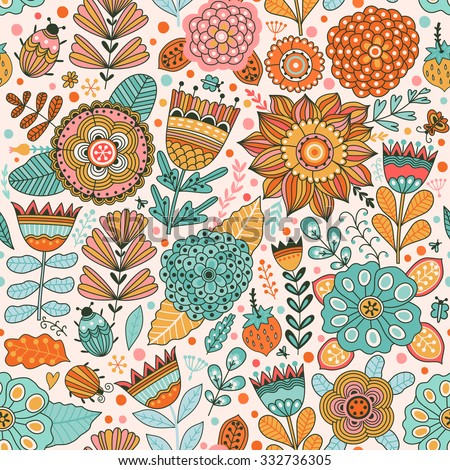 Vector flower pattern. Seamless botanic texture, detailed flowers illustrations. All elements are not cropped and hidden under mask. Floral pattern in doodle style, spring floral background. - stock vector