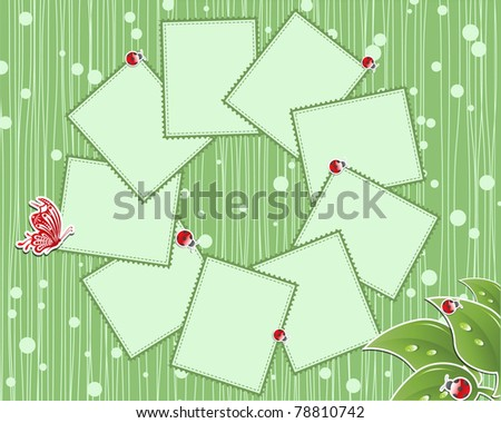 vector flower scrap background with butterfly and ladybird