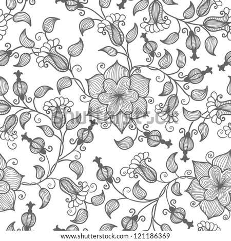 Vector flower seamless pattern element - stock vector
