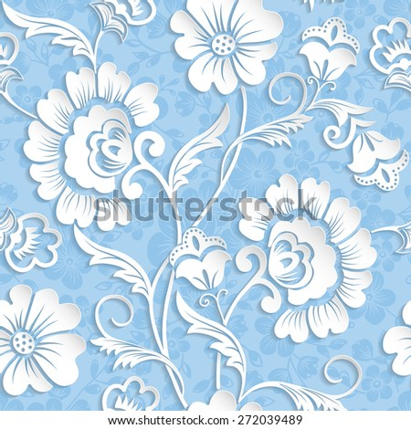 Vector flower seamless pattern element. Elegant texture for backgrounds. 3D elements with shadows and highlights. Paper cut. - stock vector