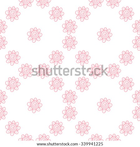 Vector flower seamless pattern. Pink print with leaves and flowers. Cute outline background.