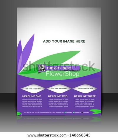 Vector Flower shop brochure, flyer, magazine cover & poster template  - stock vector