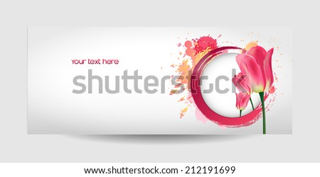 Vector flower tulip. Vector background with Flower.  - stock vector