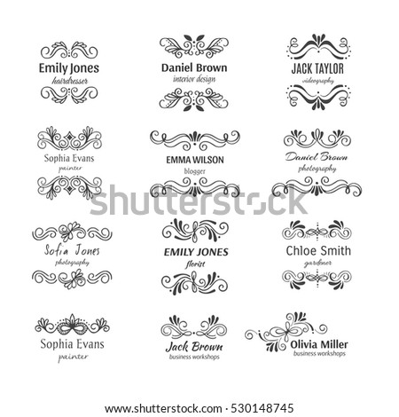 Vector flower unique handdrawn logo template collection. Hand sketched floral shapes for branding design.