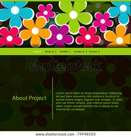 vector flower web template design