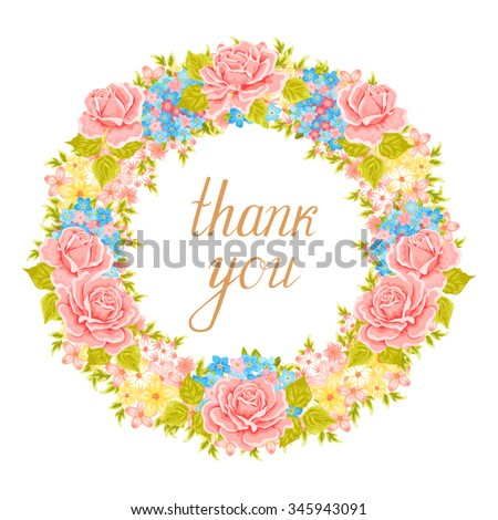 Vector flower wreath. Decorative floral element for design of invitations, greeting cards. Floral Frame. - stock vector
