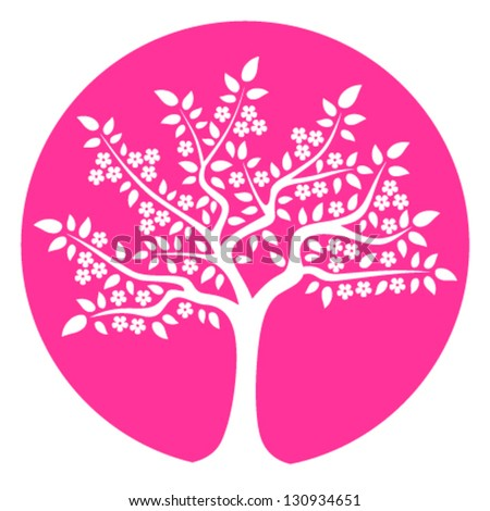 vector flowering tree isolated on pink round - stock vector