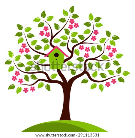 vector flowering tree with nesting bird box isolated on white background