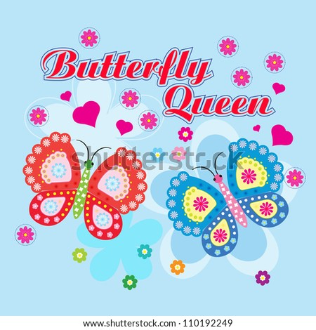 Vector flowers and butterfly background / beauty butterfly