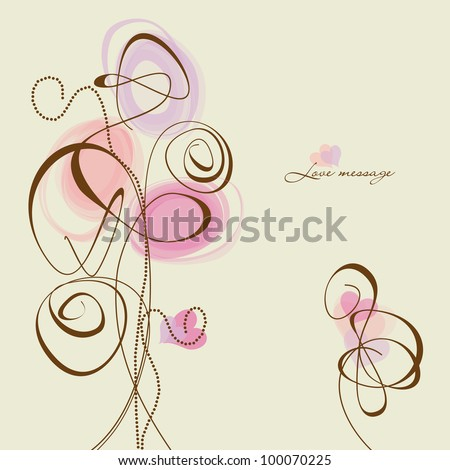 Vector flowers and hearts, calligraphic design elements - stock vector