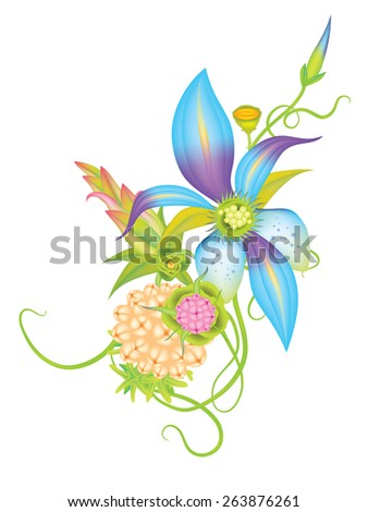 Vector flowers and leaves eps10 - stock vector