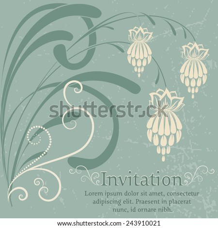 Vector flowers. Invitation or wedding card with abstract background and elegant flower elements. Elements for design. - stock vector