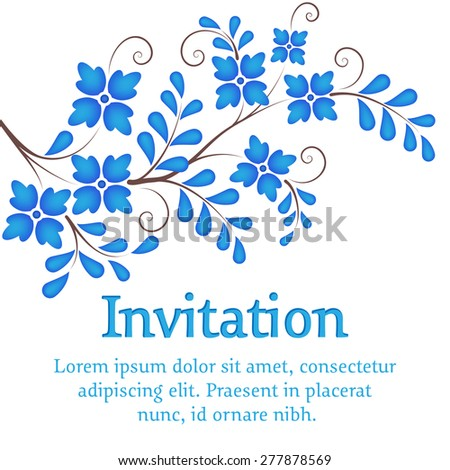 Vector flowers. Invitation or wedding card with elegant blue flowers on the branch. Elements for design. - stock vector