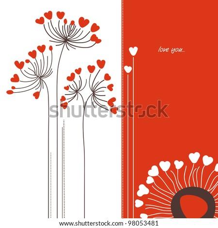 Vector flowers love card - stock vector