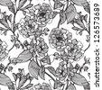 Vector flowers monochrome seamless pattern - stock vector