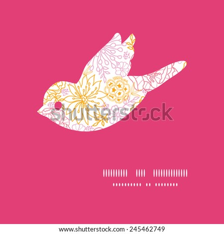 Vector flowers outlined bird silhouette pattern frame - stock vector