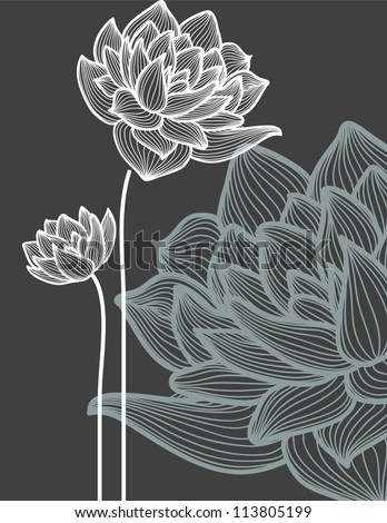 Vector flowers over black background
