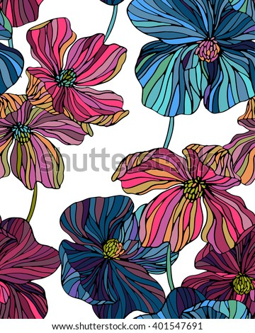 vector flowers pattern, line art poppies seamless design. colorful romantic flowers in vertical layout for wallpaper - stock vector