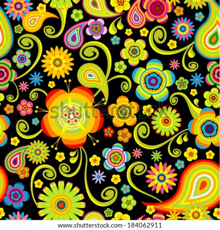Vector flowers seamless (bright floral pattern)