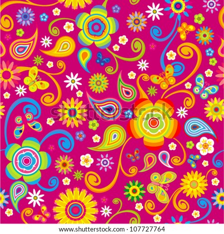 Vector flowers seamless (floral pattern with butterfly)