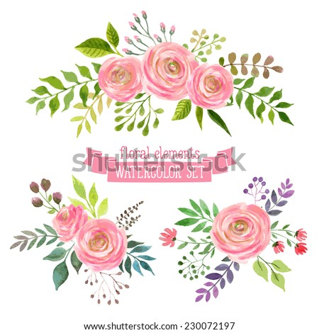 Vector Flowers Set Colorful Floral Collection With Leaves And Drawing Watercolor Spring