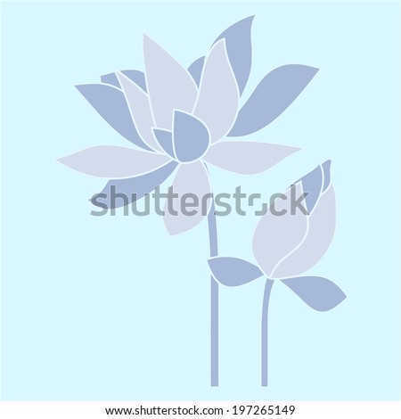 Vector flowers. Water lily, lotus. - stock vector