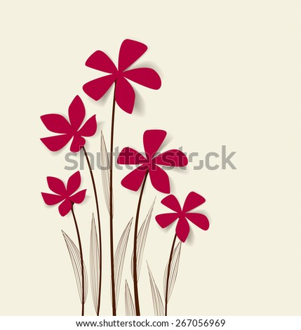 Vector flowers with pink petals on a bright  background - stock vector