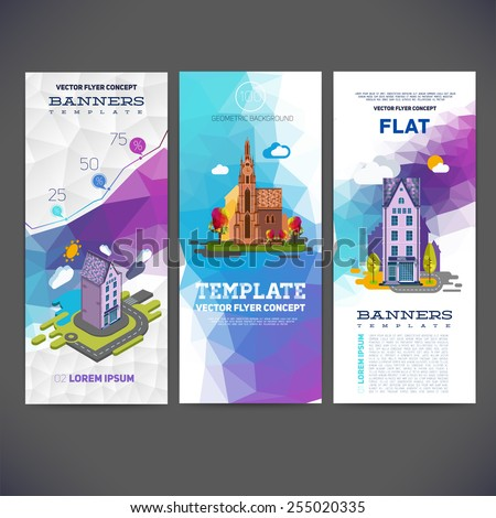 Vector flyer concept banner with abstract geometric background and the image of the landscape with a hotel and church. Flat vector and isometric for you. - stock vector