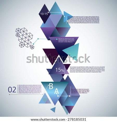 Vector flyer design. Modern colorful  geometric background. Can be used for stationery, business cards and brochures - stock vector