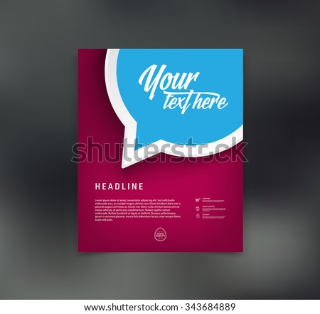 Vector flyer design template with speech bubble