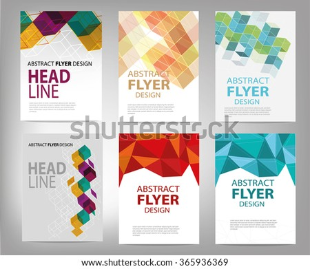 Vector flyer design templates collection.polygonal trendy and modern polygonal design.