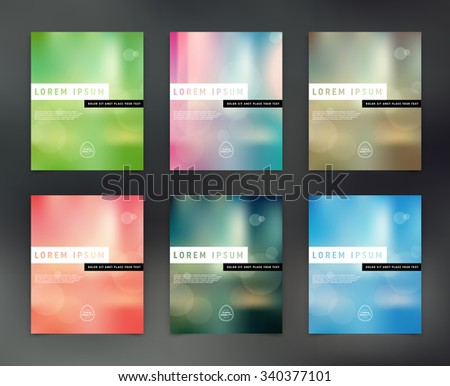 Vector flyer design templates collection with blurry bokeh backgrounds - stock vector
