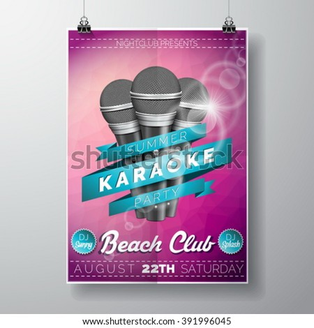 Vector Flyer illustration on a Summer Karaoke Party theme with microphones and ribbon on violet background. Eps 10 design. - stock vector