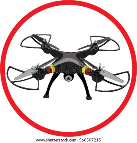 Vector Flying Black Drone With Camera In Red Round Sign On The White Background