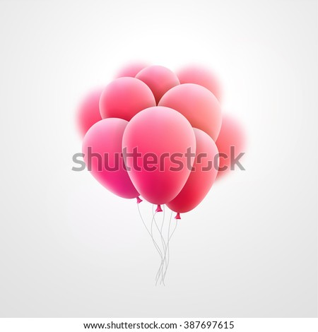 Vector flying realistic pink glossy balloons holiday celebration elements. Balloons pink. Ballons design. Balloons template. Balloons bunch. Balloons composition - stock vector