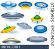 vector flying saucers - stock photo