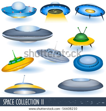 vector flying saucers - stock vector