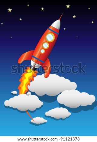 Vector Flying Space Ship with Clouds and Stars - stock vector