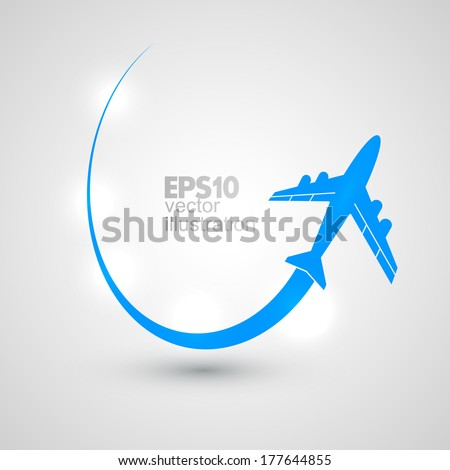 Vector flying the plane. - stock vector