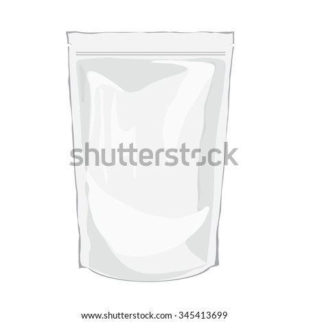 Vector Foil Food Doypack. Packaging Plastic Pack. White Mock Up Bag for  Food Or Drink. White Realistic Plastic Pouch Template. Bag Packaging with valve and seal - stock vector