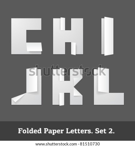 Vector folded paper letters - stock vector