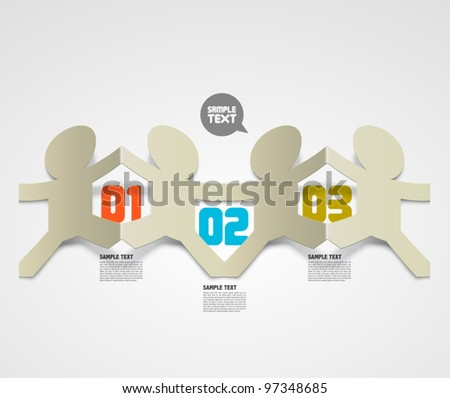 Vector Folded Paper Men with Your Message - stock vector