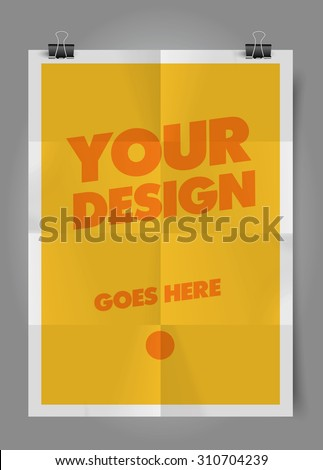 Vector folded paper poster template. - stock vector