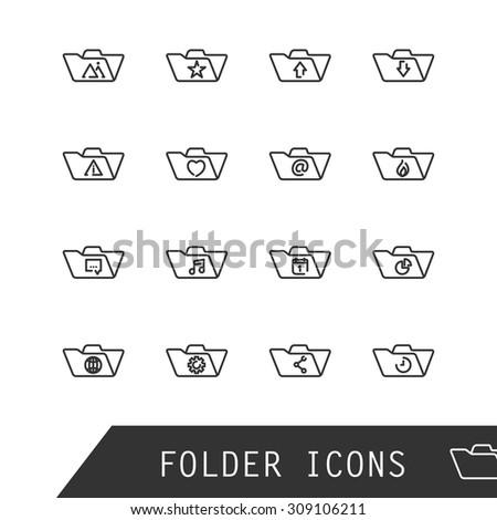 Vector folder icons. - stock vector
