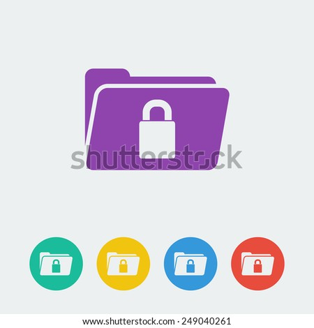 vector folder lock flat circle icon - stock vector