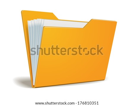 Vector folder with documents - stock vector